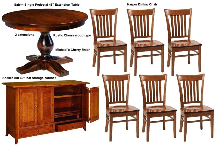 13 Fairview - table 48inch single-pedestal-salem 2 extens.